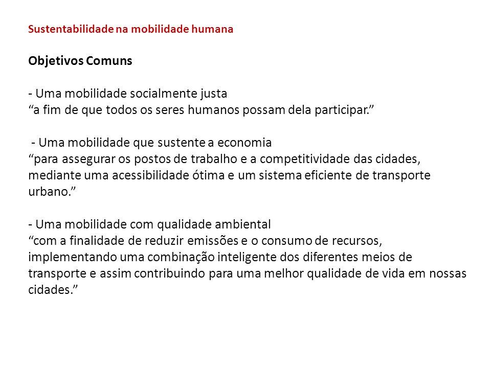 """Objetivos Comuns - Uma mobilidade socialmente justa """"a fim de que todos os seres humanos possam dela participar."""" - Uma mobilidade que sustente a econ"""