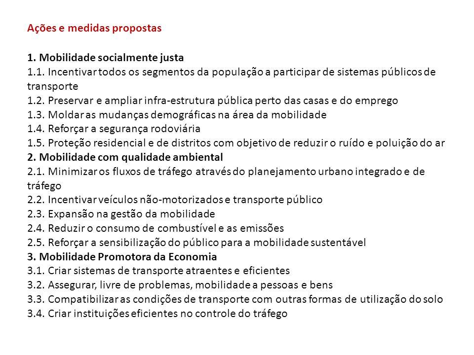 1. Mobilidade socialmente justa 1.1. Incentivar todos os segmentos da população a participar de sistemas públicos de transporte 1.2. Preservar e ampli