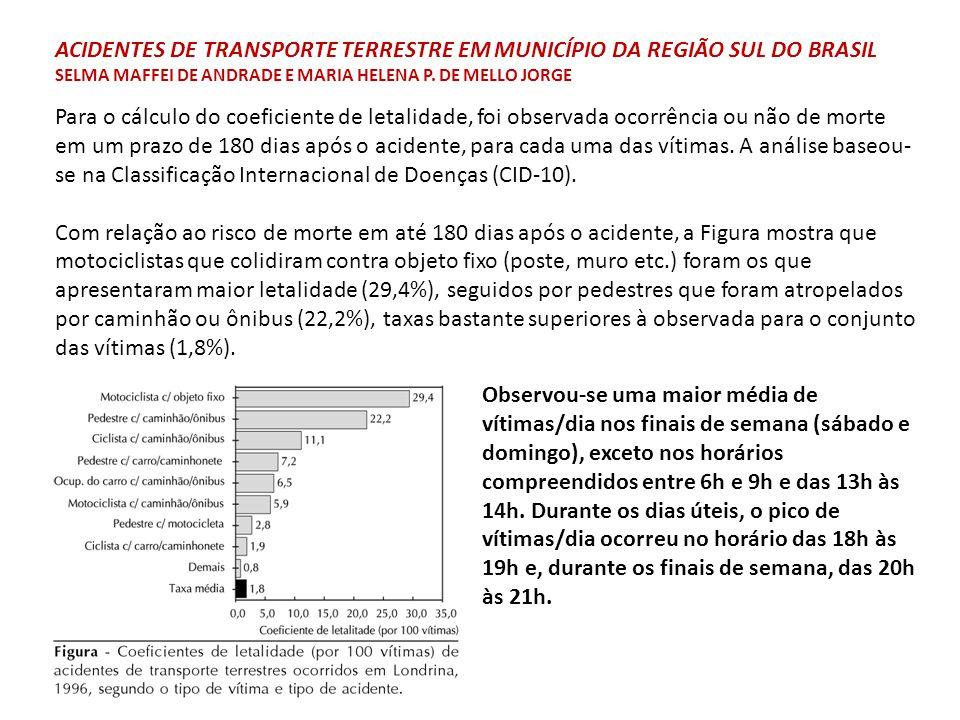 Para o cálculo do coeficiente de letalidade, foi observada ocorrência ou não de morte em um prazo de 180 dias após o acidente, para cada uma das vítim
