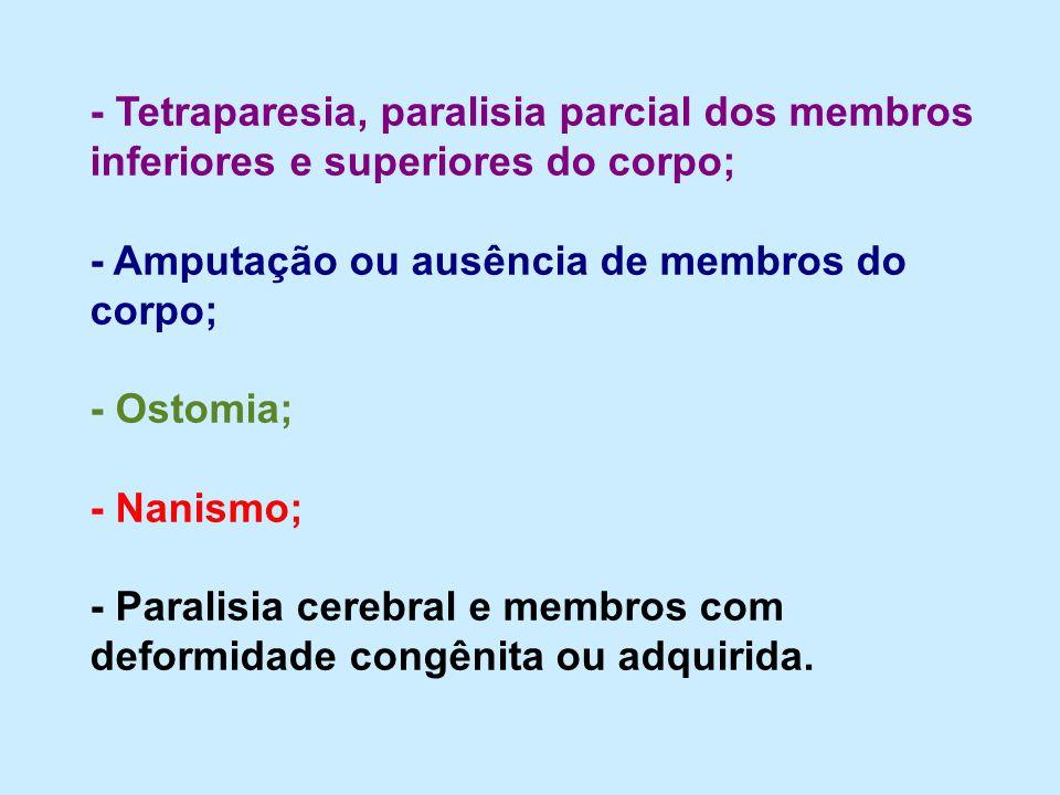 - Tetraparesia, paralisia parcial dos membros inferiores e superiores do corpo; - Amputação ou ausência de membros do corpo; - Ostomia; - Nanismo; - P