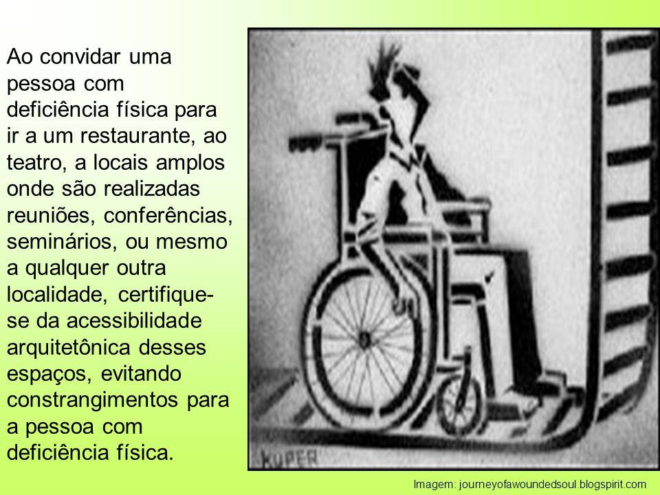 Ao convidar uma pessoa com deficiência física para ir a um restaurante, ao teatro, a locais amplos onde são realizadas reuniões, conferências, seminár