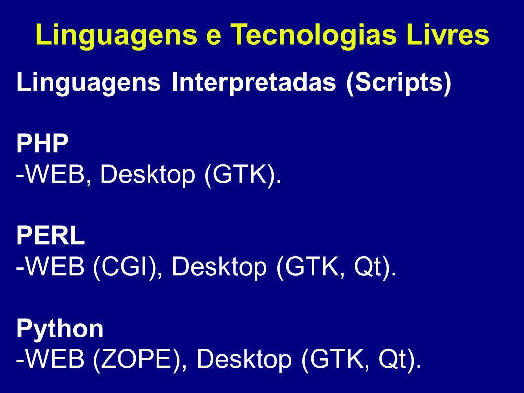 Linguagens e Tecnologias Livres Linguagens Interpretadas (Scripts) PHP -WEB, Desktop (GTK).