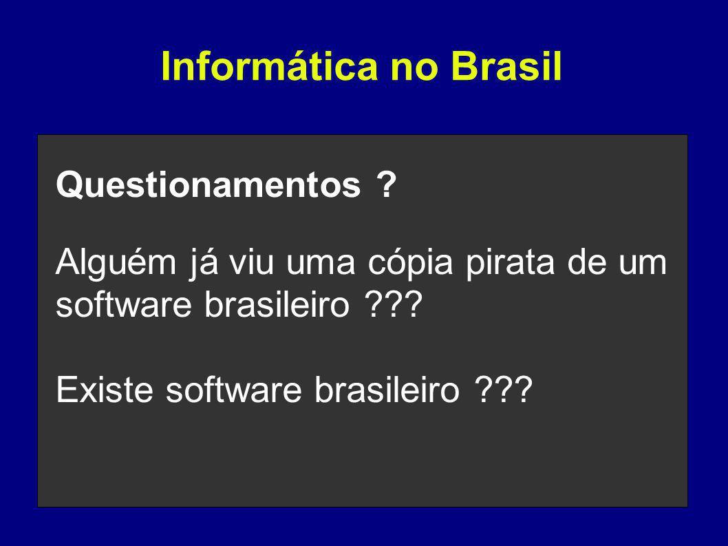 Questionamentos . Alguém já viu uma cópia pirata de um software brasileiro .