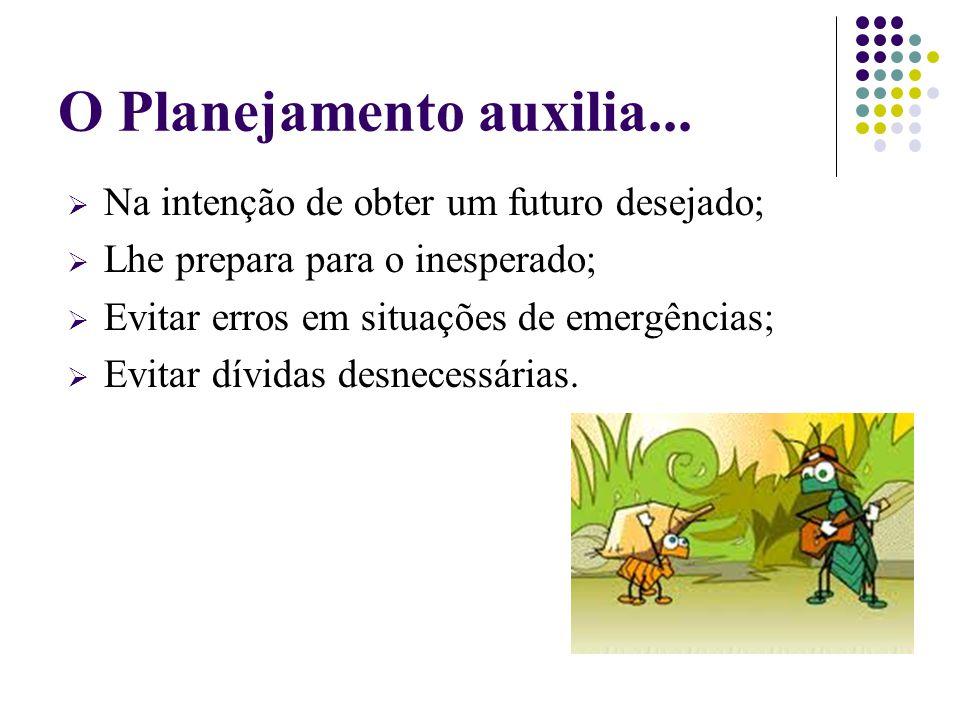 O Planejamento auxilia...  Na intenção de obter um futuro desejado;  Lhe prepara para o inesperado;  Evitar erros em situações de emergências;  Ev