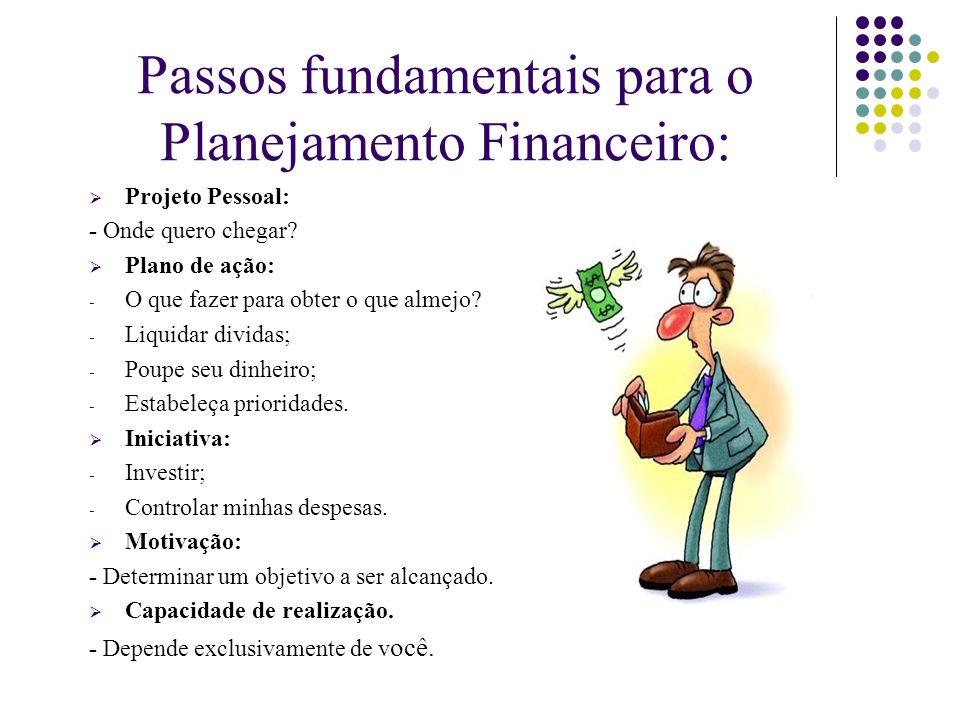 Passos fundamentais para o Planejamento Financeiro:  Projeto Pessoal: - Onde quero chegar?  Plano de ação: - O que fazer para obter o que almejo? -