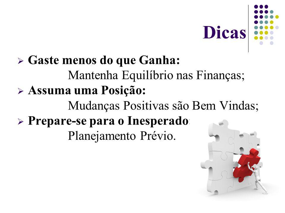 Dicas GGaste menos do que Ganha: Mantenha Equilíbrio nas Finanças; AAssuma uma Posição: Mudanças Positivas são Bem Vindas; PPrepare-se para o Inesperado: Planejamento Prévio.