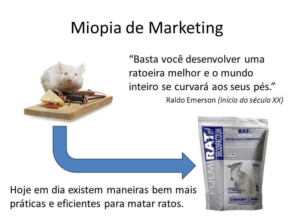 """Miopia de Marketing """"Basta você desenvolver uma ratoeira melhor e o mundo inteiro se curvará aos seus pés."""" Raldo Emerson (início do século XX) Hoje e"""
