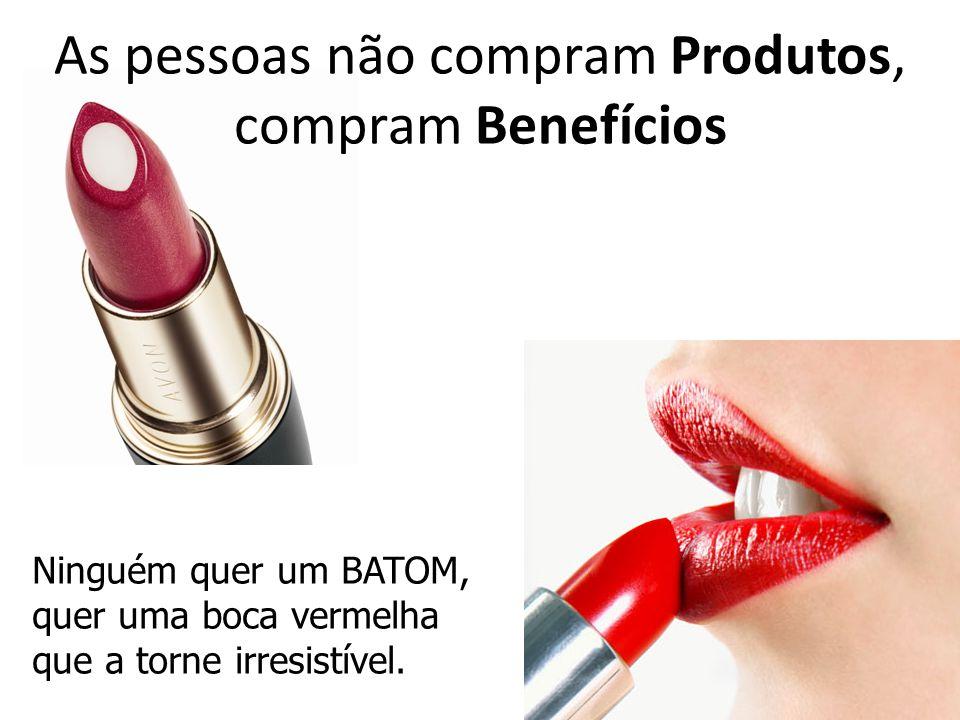 As pessoas não compram Produtos, compram Benefícios Ninguém quer um BATOM, quer uma boca vermelha que a torne irresistível.