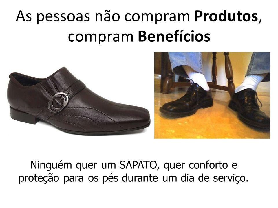 As pessoas não compram Produtos, compram Benefícios Ninguém quer um SAPATO, quer conforto e proteção para os pés durante um dia de serviço.