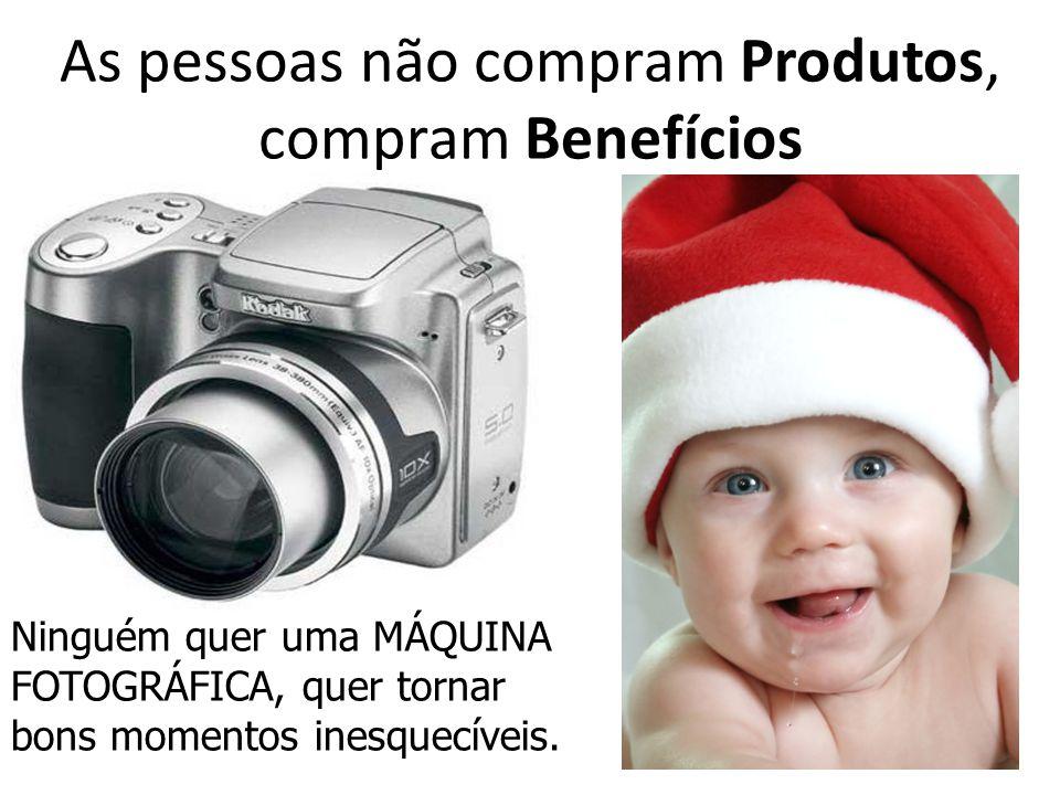 As pessoas não compram Produtos, compram Benefícios Ninguém quer uma MÁQUINA FOTOGRÁFICA, quer tornar bons momentos inesquecíveis.