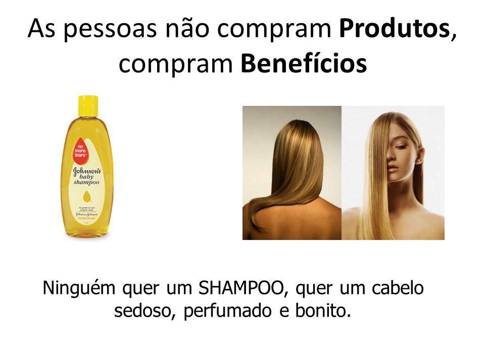 As pessoas não compram Produtos, compram Benefícios Ninguém quer um SHAMPOO, quer um cabelo sedoso, perfumado e bonito.