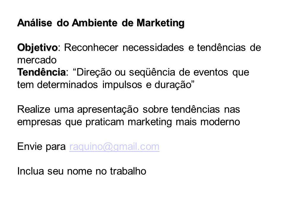 """Análise do Ambiente de Marketing Objetivo Objetivo: Reconhecer necessidades e tendências de mercado Tendência Tendência: """"Direção ou seqüência de even"""