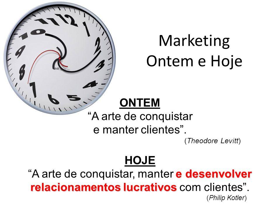 """Marketing Ontem e Hoje ONTEM """"A arte de conquistar e manter clientes"""". (Theodore Levitt) HOJE e desenvolver relacionamentos lucrativos """"A arte de conq"""