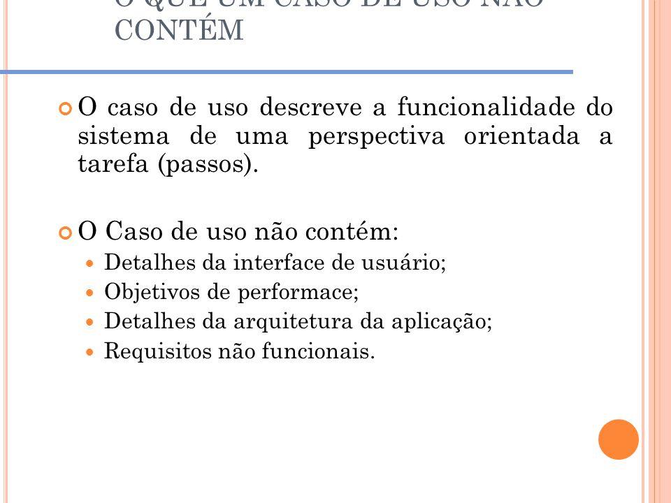 O QUE UM CASO DE USO NÃO CONTÉM O caso de uso descreve a funcionalidade do sistema de uma perspectiva orientada a tarefa (passos). O Caso de uso não c