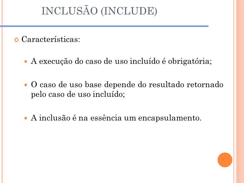 INCLUSÃO (INCLUDE) Características: A execução do caso de uso incluído é obrigatória; O caso de uso base depende do resultado retornado pelo caso de u