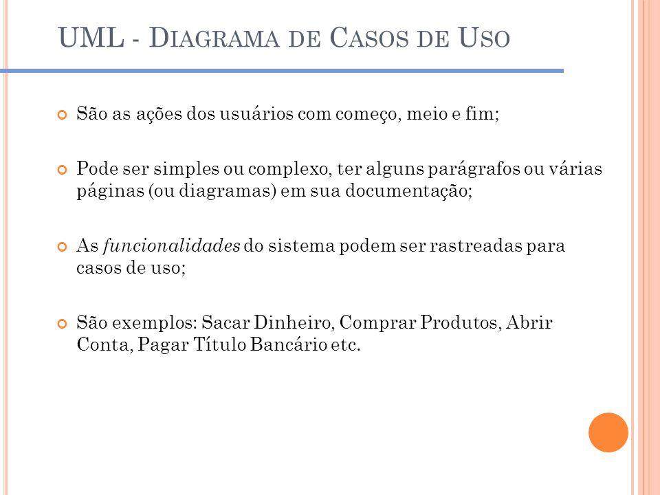 UML - D IAGRAMA DE C ASOS DE U SO São as ações dos usuários com começo, meio e fim; Pode ser simples ou complexo, ter alguns parágrafos ou várias pági