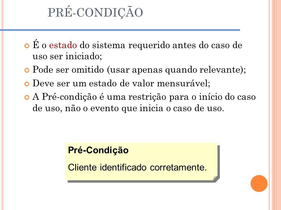 PRÉ-CONDIÇÃO É o estado do sistema requerido antes do caso de uso ser iniciado; Pode ser omitido (usar apenas quando relevante); Deve ser um estado de