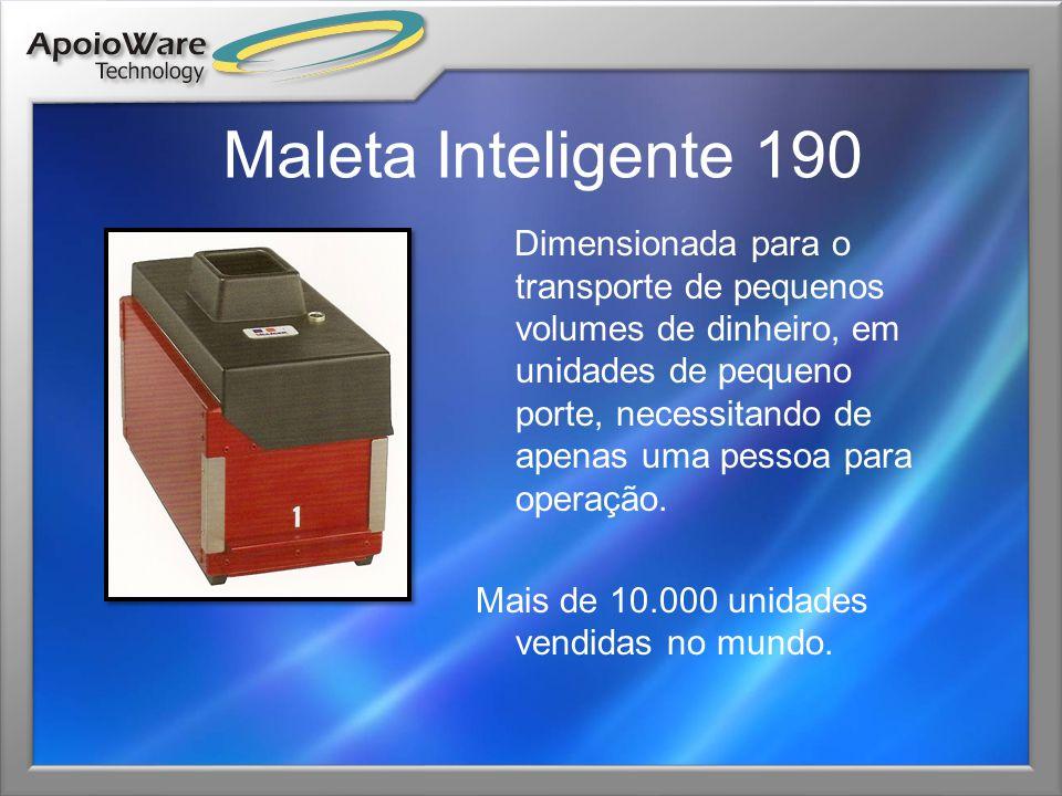 Maleta Inteligente 270 Dimensionada para o transporte de volumes medianos de dinheiro, em unidades de pequeno porte, necessitando de apenas uma pessoa para operação.