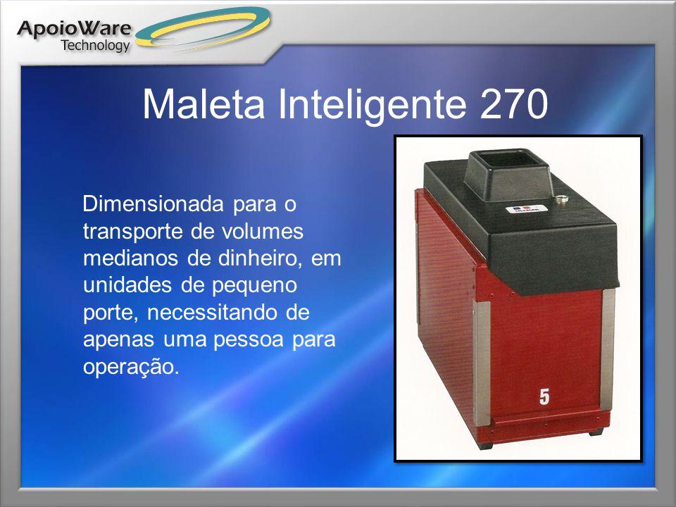 Maleta Inteligente 270 Dimensionada para o transporte de volumes medianos de dinheiro, em unidades de pequeno porte, necessitando de apenas uma pessoa