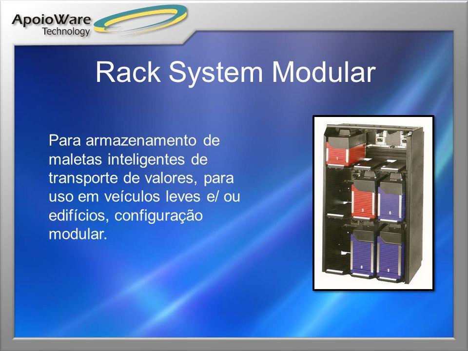 Rack System Modular Para armazenamento de maletas inteligentes de transporte de valores, para uso em veículos leves e/ ou edifícios, configuração modu