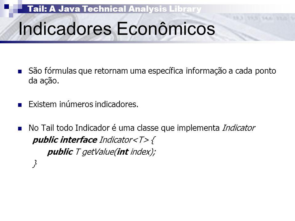 Tail: A Java Technical Analysis Library Indicadores Econômicos São fórmulas que retornam uma específica informação a cada ponto da ação.
