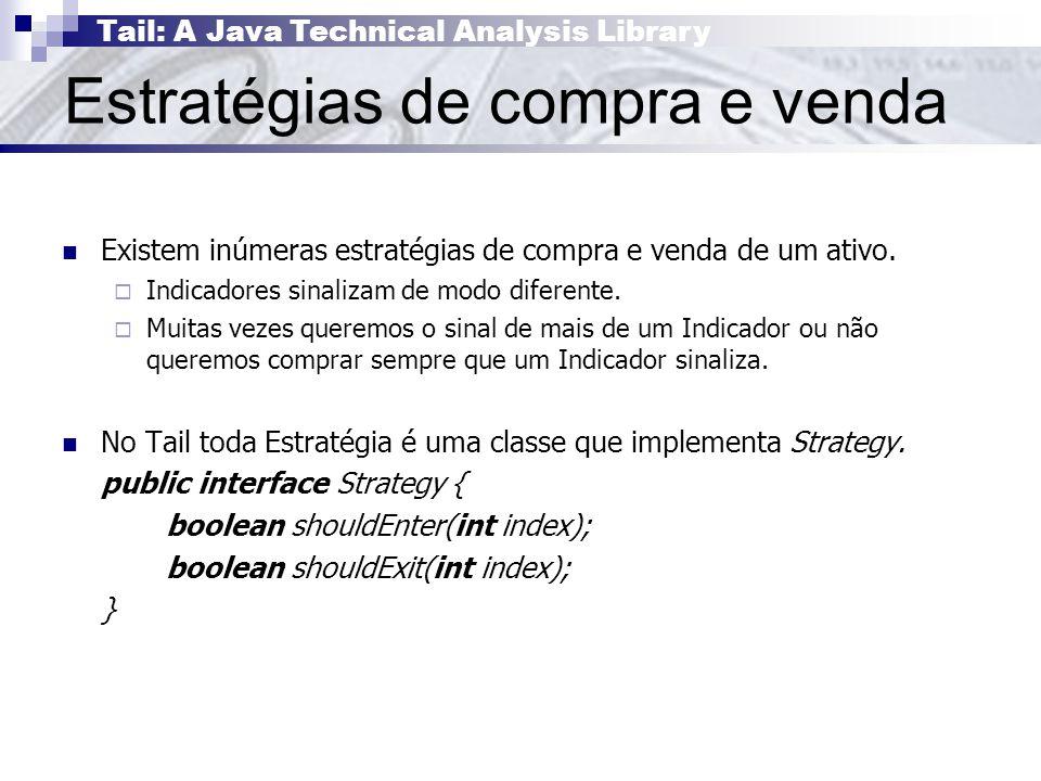 Tail: A Java Technical Analysis Library Estratégias de compra e venda Existem inúmeras estratégias de compra e venda de um ativo.