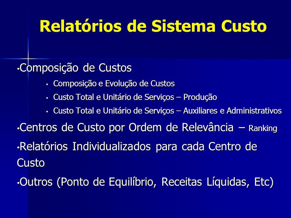 Relatórios de Sistema Custo Composição de Custos Composição de Custos Composição e Evolução de Custos Composição e Evolução de Custos Custo Total e Un