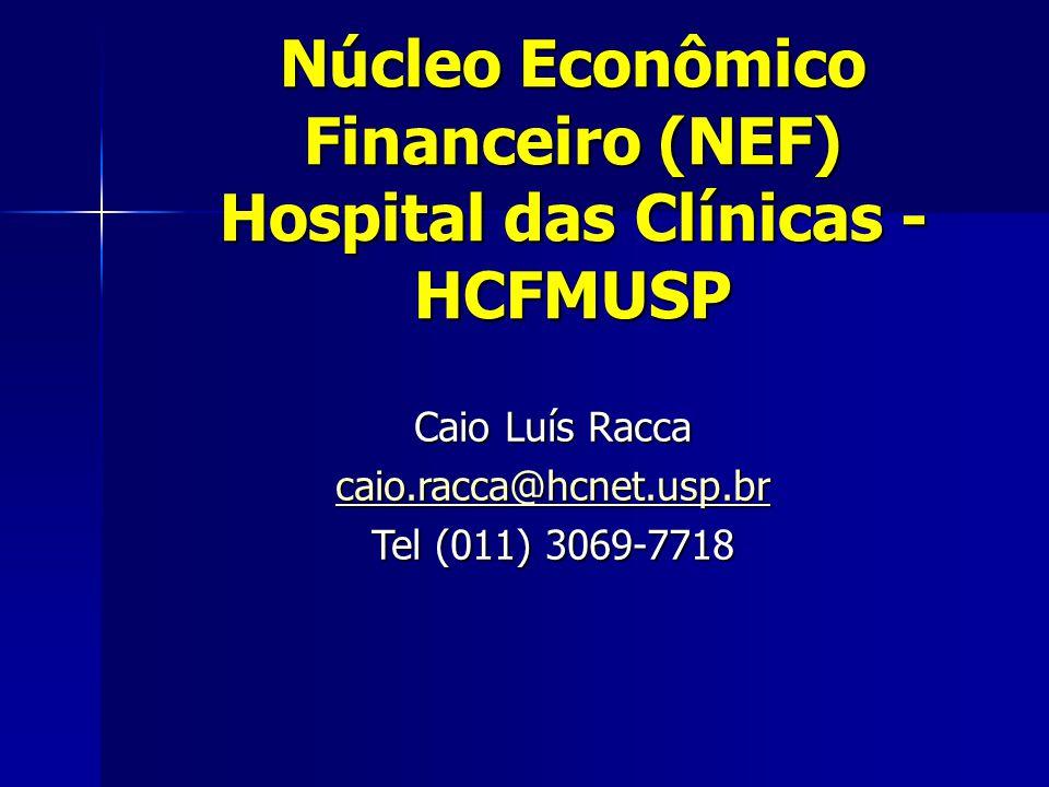 Caio Luís Racca caio.racca@hcnet.usp.br Tel (011) 3069-7718 Núcleo Econômico Financeiro (NEF) Hospital das Clínicas - HCFMUSP