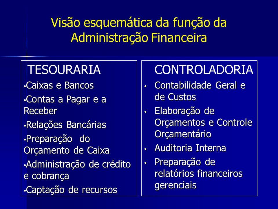 Visão esquemática da função da Administração Financeira TESOURARIA Caixas e Bancos Caixas e Bancos Contas a Pagar e a Receber Contas a Pagar e a Receb