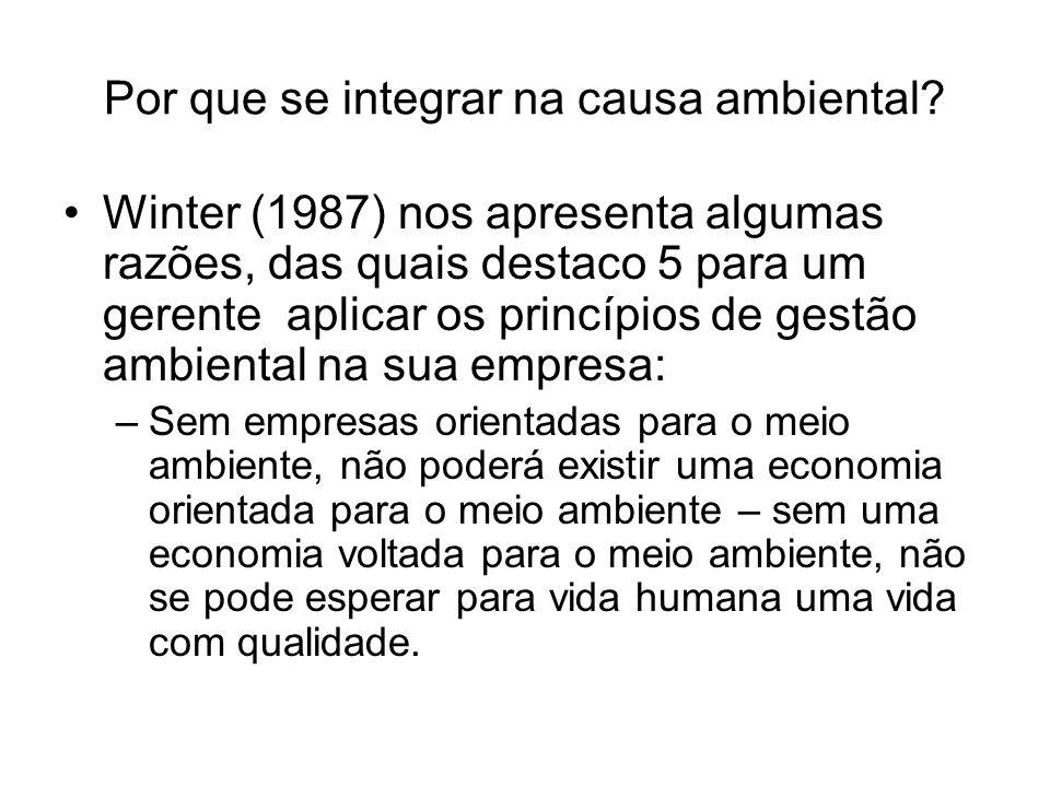Por que se integrar na causa ambiental? Winter (1987) nos apresenta algumas razões, das quais destaco 5 para um gerente aplicar os princípios de gestã