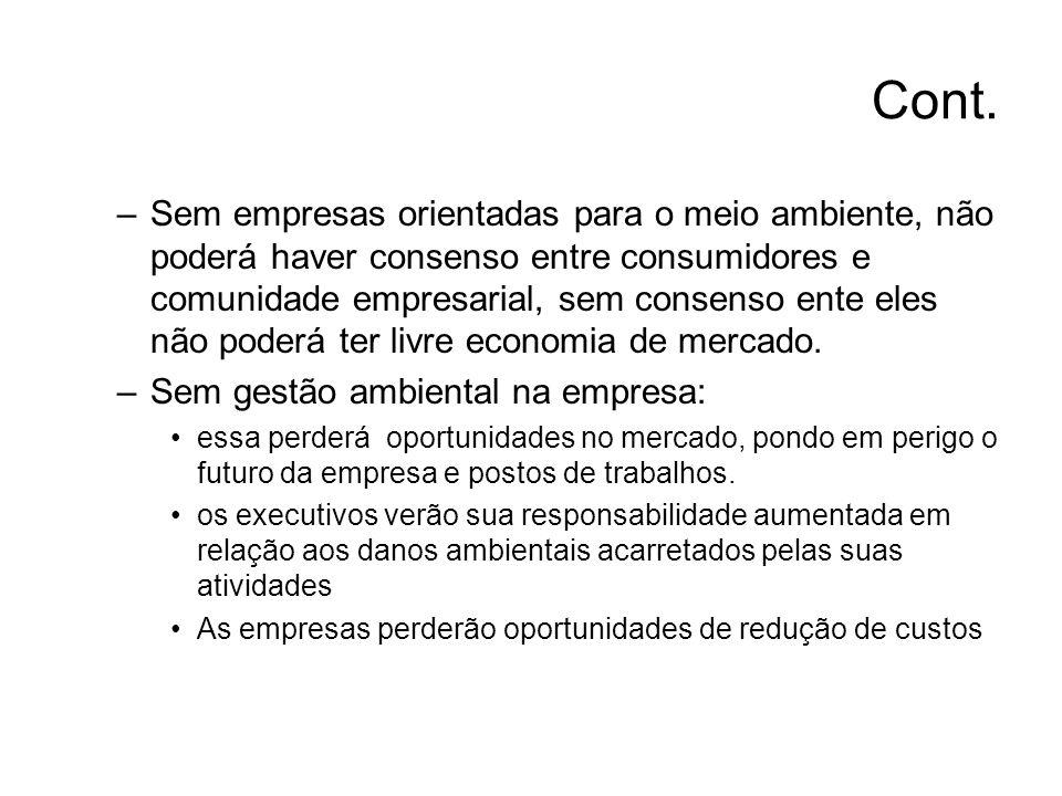 Cont. –Sem empresas orientadas para o meio ambiente, não poderá haver consenso entre consumidores e comunidade empresarial, sem consenso ente eles não