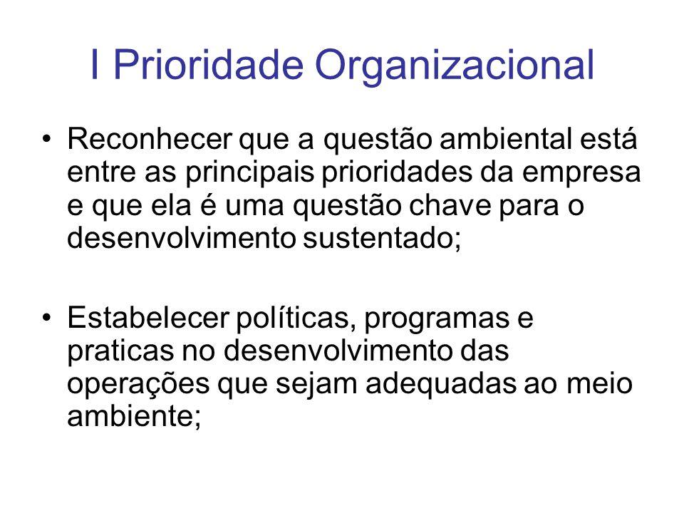 I Prioridade Organizacional Reconhecer que a questão ambiental está entre as principais prioridades da empresa e que ela é uma questão chave para o de