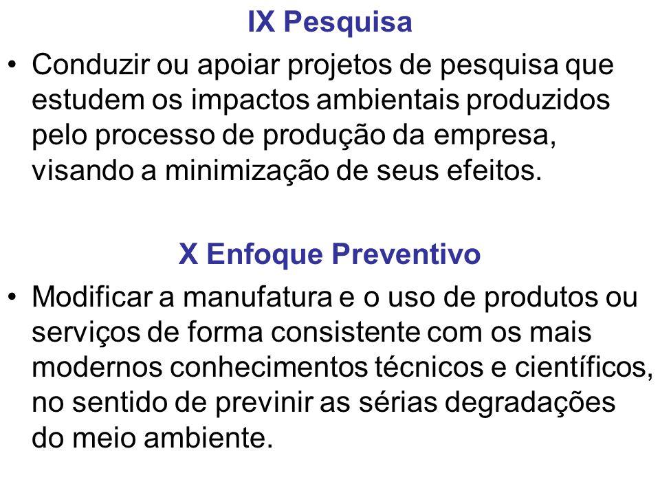 IX Pesquisa Conduzir ou apoiar projetos de pesquisa que estudem os impactos ambientais produzidos pelo processo de produção da empresa, visando a mini