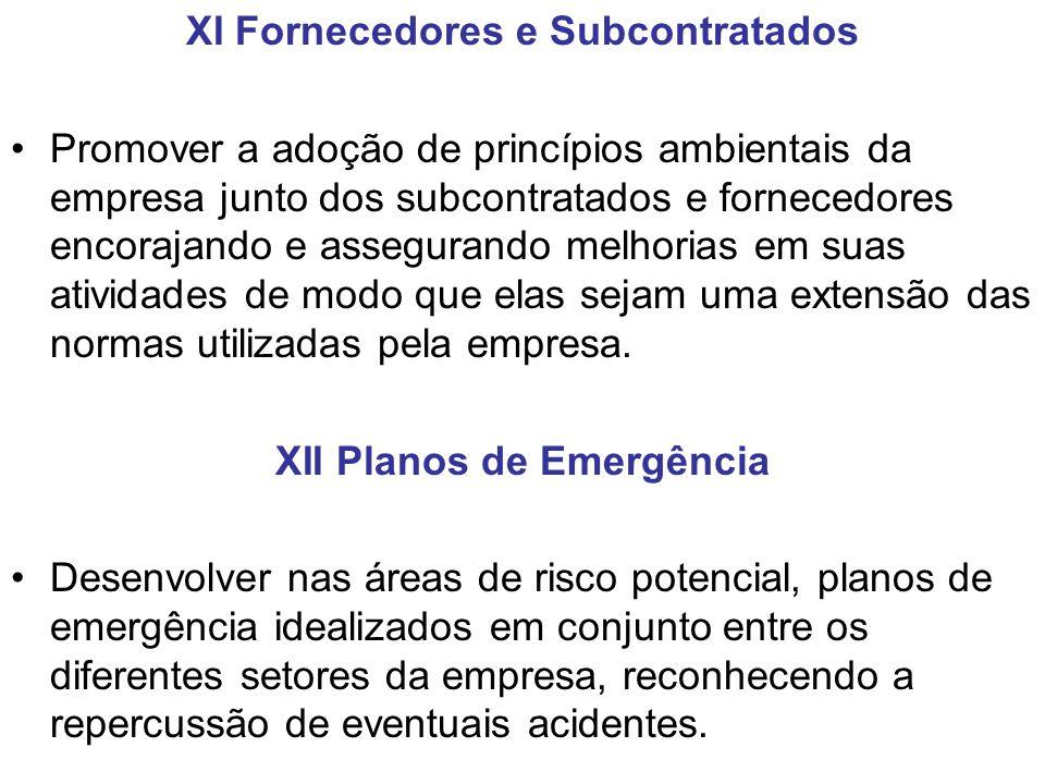 XI Fornecedores e Subcontratados Promover a adoção de princípios ambientais da empresa junto dos subcontratados e fornecedores encorajando e asseguran
