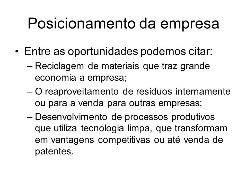 Posicionamento da empresa Entre as oportunidades podemos citar: –Reciclagem de materiais que traz grande economia a empresa; –O reaproveitamento de re
