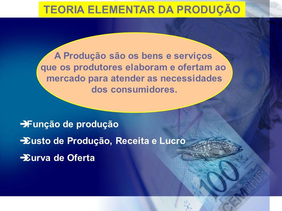 TEORIA ELEMENTAR DA PRODUÇÃO A Produção são os bens e serviços que os produtores elaboram e ofertam ao mercado para atender as necessidades dos consum