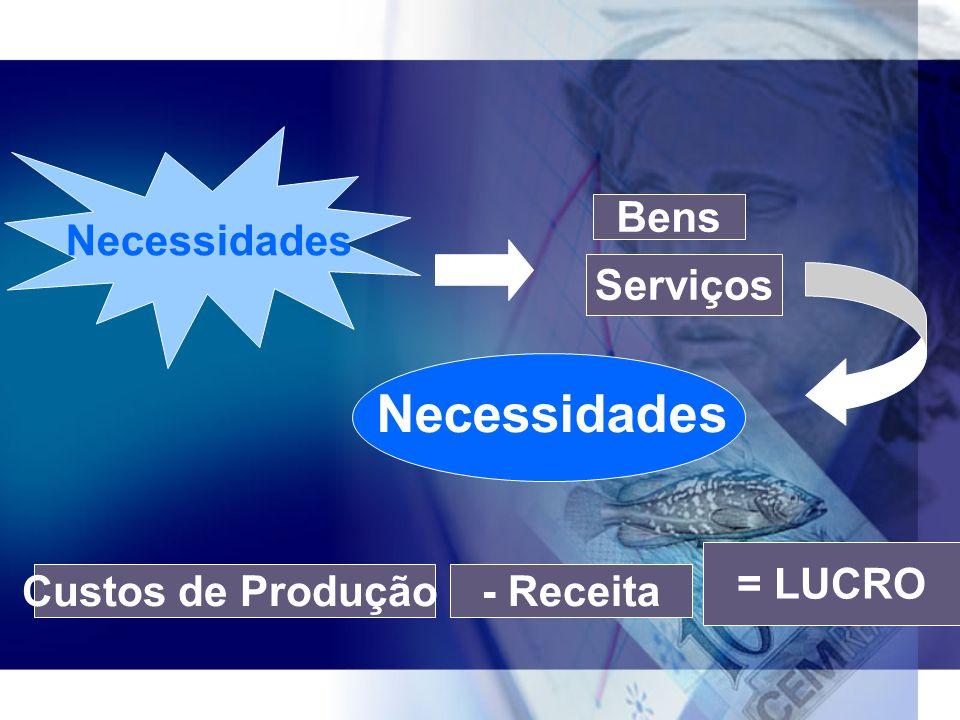 Bens Serviços Necessidades Custos de Produção- Receita = LUCRO