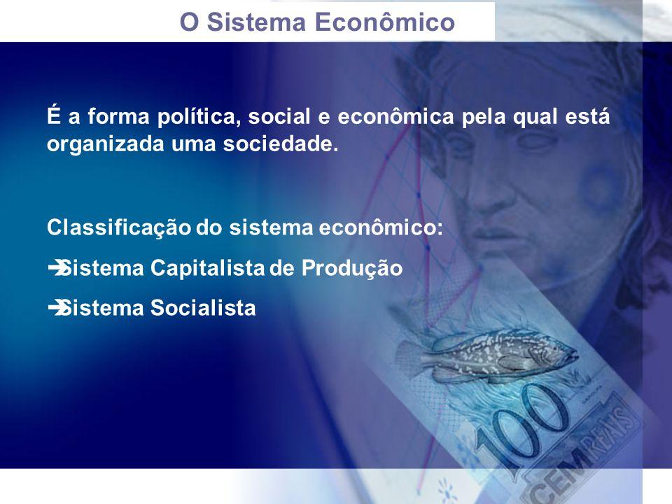 O Sistema Econômico É a forma política, social e econômica pela qual está organizada uma sociedade. Classificação do sistema econômico:  Sistema Capi