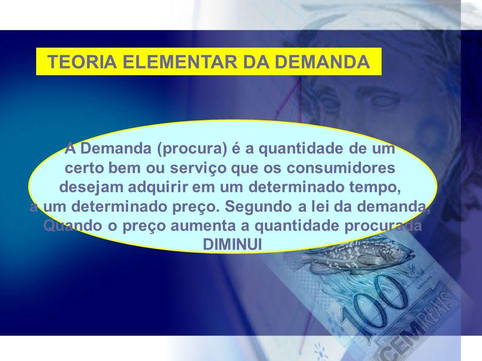 TEORIA ELEMENTAR DA DEMANDA A Demanda (procura) é a quantidade de um certo bem ou serviço que os consumidores desejam adquirir em um determinado tempo