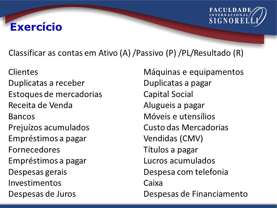 Clientes Duplicatas a receber Estoques de mercadorias Receita de Venda Bancos Prejuízos acumulados Empréstimos a pagar Fornecedores Empréstimos a paga