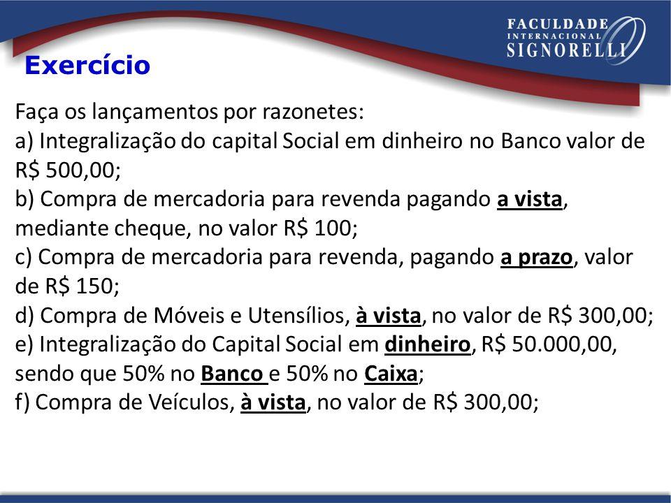 Faça os lançamentos por razonetes: a) Integralização do capital Social em dinheiro no Banco valor de R$ 500,00; b) Compra de mercadoria para revenda p
