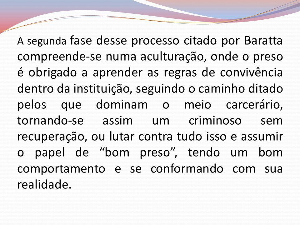 A segunda fase desse processo citado por Baratta compreende-se numa aculturação, onde o preso é obrigado a aprender as regras de convivência dentro da