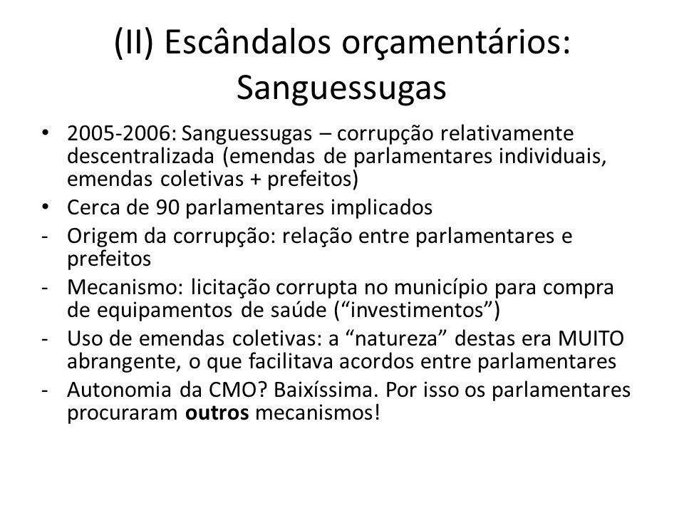 (II) Escândalos orçamentários: Sanguessugas 2005-2006: Sanguessugas – corrupção relativamente descentralizada (emendas de parlamentares individuais, e
