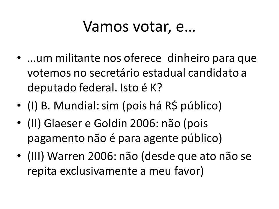 Vamos votar, e… …um militante nos oferece dinheiro para que votemos no secretário estadual candidato a deputado federal. Isto é K? (I) B. Mundial: sim