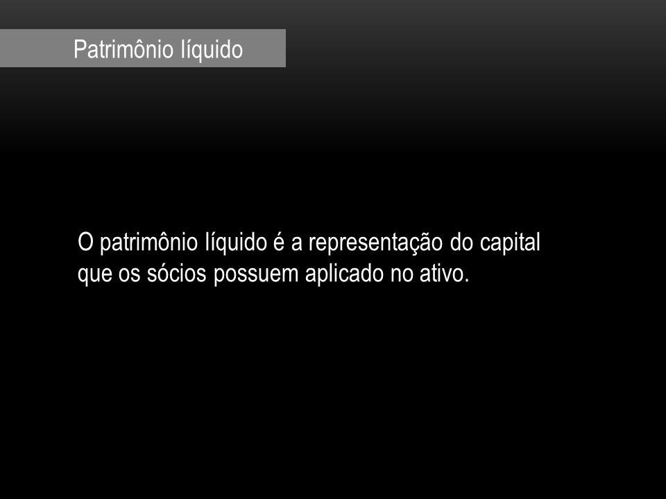 O patrimônio líquido é a representação do capital que os sócios possuem aplicado no ativo.