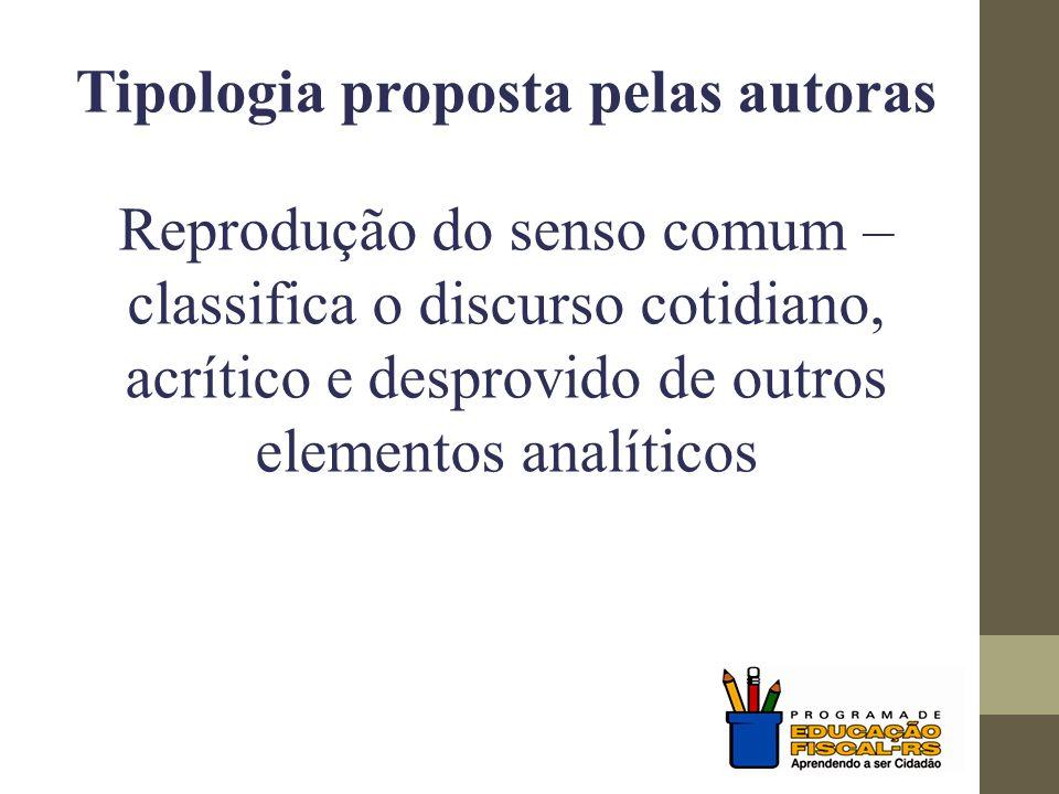 Tipologia proposta pelas autoras Reprodução do senso comum – classifica o discurso cotidiano, acrítico e desprovido de outros elementos analíticos