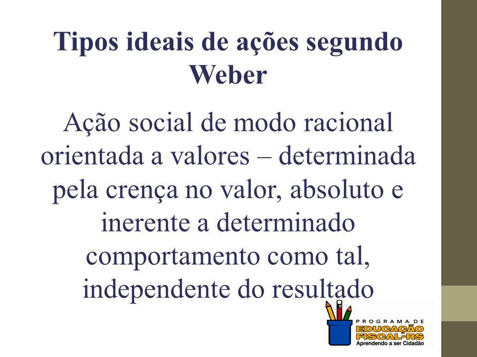Tipos ideais de ações segundo Weber Ação social de modo racional orientada a fins – determinada por expectativas quanto ao comportamento de objetos do mundo exterior e de outras pessoas, utilizando essas expectativa como meios para alcançar fins próprios