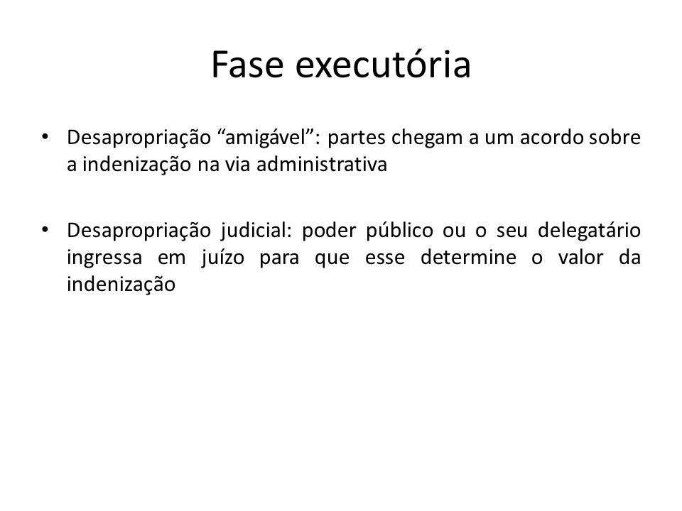 """Fase executória Desapropriação """"amigável"""": partes chegam a um acordo sobre a indenização na via administrativa Desapropriação judicial: poder público"""