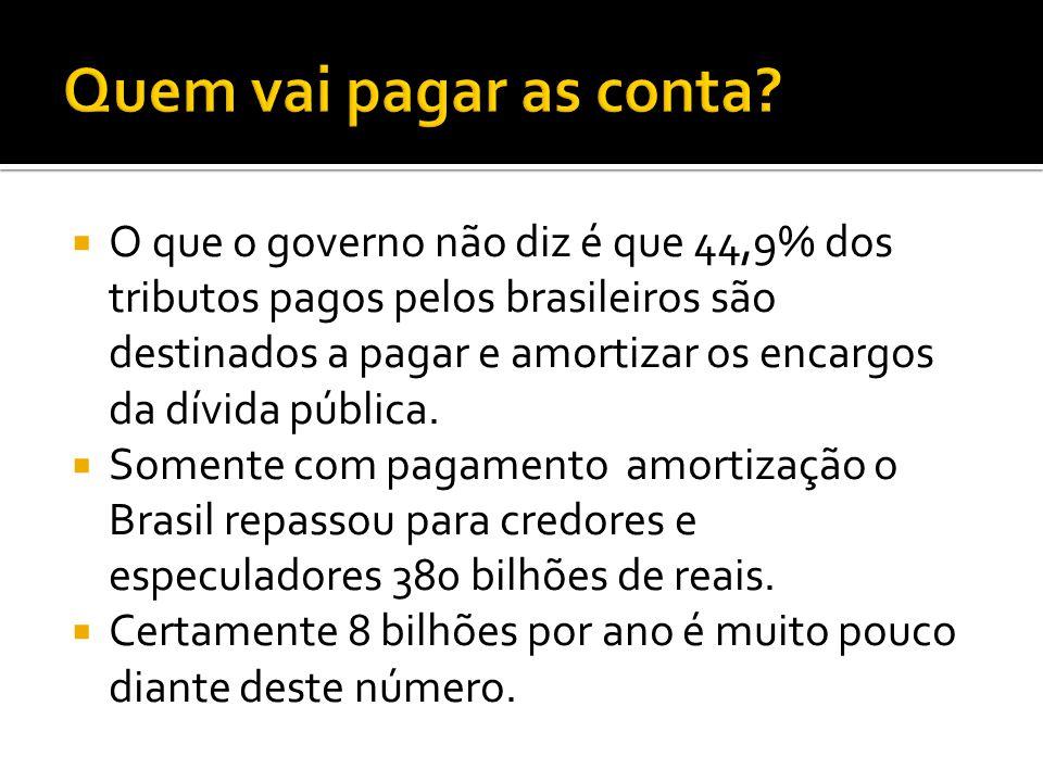 O que o governo não diz é que 44,9% dos tributos pagos pelos brasileiros são destinados a pagar e amortizar os encargos da dívida pública.
