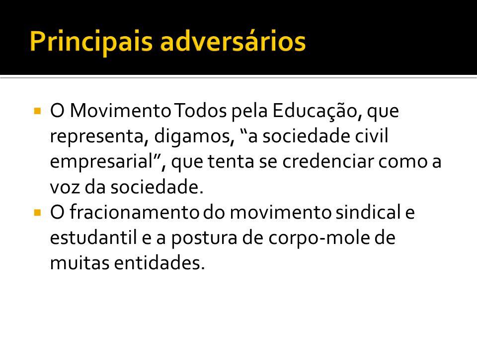  O Movimento Todos pela Educação, que representa, digamos, a sociedade civil empresarial , que tenta se credenciar como a voz da sociedade.